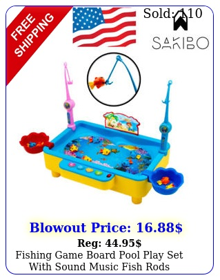 fishing game board pool play set with sound music fish rods electromagnetic kid