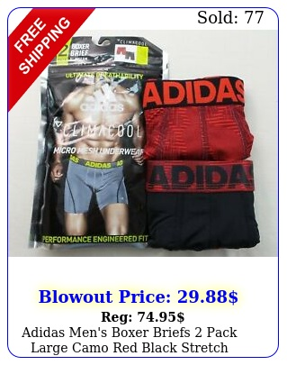 adidas men's boxer briefs pack large camo red black stretch athletic climacoo