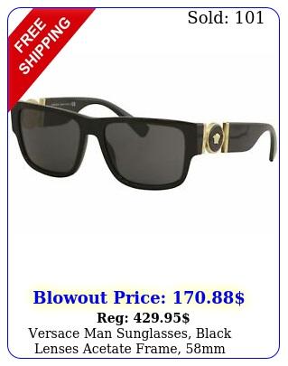 versace man sunglasses black lenses acetate frame m
