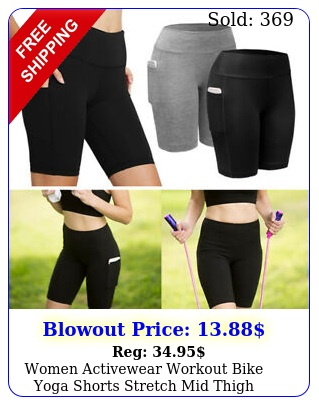 women activewear workout bike yoga shorts stretch mid thigh leggings with pocke