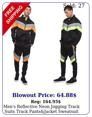 men's reflective neon jogging track suits track pantsjacket sweatsuit set s