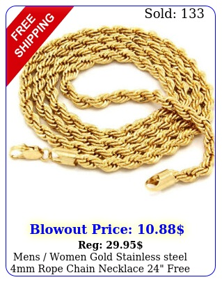 mens women gold stainless steel mm rope chain necklace free shippin