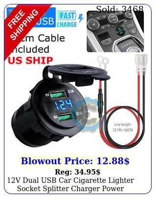 v dual usb car cigarette lighter socket splitter charger power adapter outle