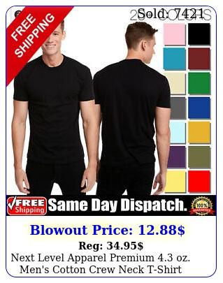 next level apparel premium oz men's cotton crew neck tshirt xsx