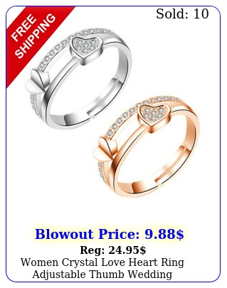 women crystal love heart ring adjustable thumb wedding engagement jewelry gif