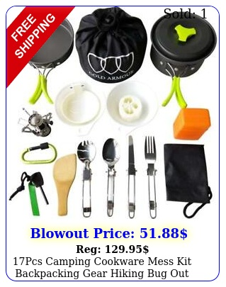 pcs camping cookware mess kit backpacking gear hiking bug out cookset gree