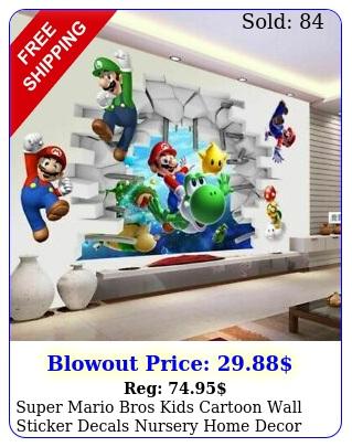 super mario bros kids cartoon wall sticker decals nursery home decor free shi