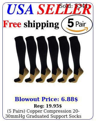 pairs copper compression mmhg graduated support socks mens womens sxx