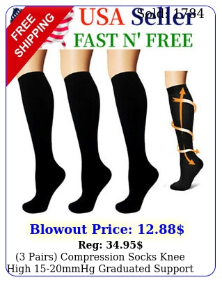 pairs compression socks knee high mmhg graduated support men's women'
