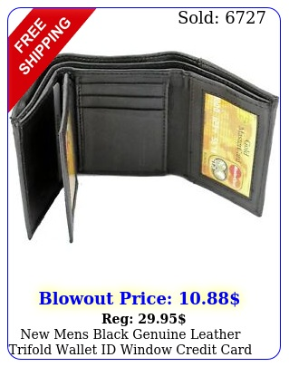 mens black genuine leather trifold wallet id window credit card case holde