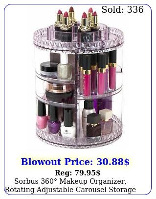 sorbus makeup organizer rotating adjustable carousel storage purpl