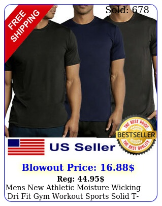 mens athletic moisture wicking dri fit gym workout sports solid tshirt sx