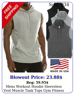 mens workout hoodie sleeveless vest muscle tank tops gym fitness bodybuildin