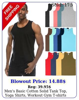 men's basic cotton solid tank top yoga shirts workout gym tshirts color