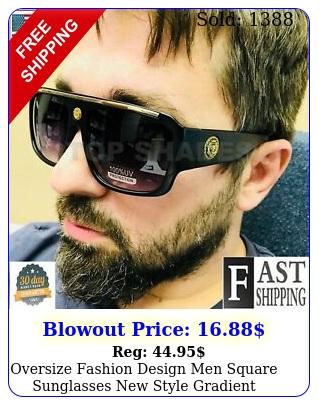 oversize fashion design men square sunglasses style gradient shades hip ho