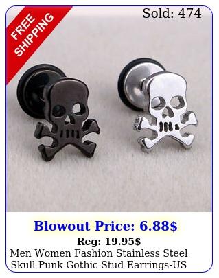men women fashion stainless steel skull punk gothic stud earringsus stoc