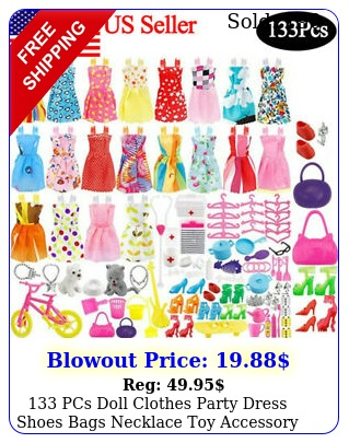pcs doll clothes party dress shoes bags necklace toy accessory set kid gif