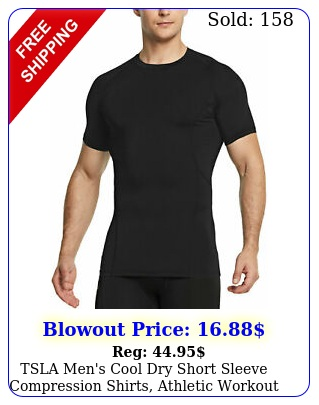 tsla men's cool dry short sleeve compression shirts athletic workout shir