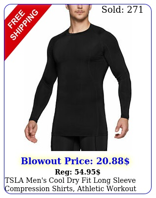 tsla men's cool dry fit long sleeve compression shirts athletic workout shir