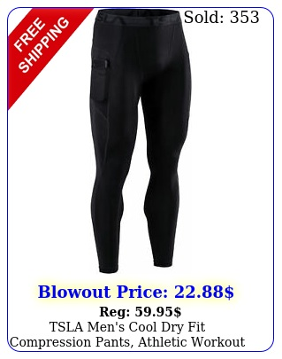 tsla men's cool dry fit compression pants athletic workout running tight