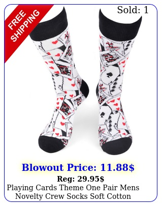 playing cards theme one pair mens novelty crew socks soft cotton blen