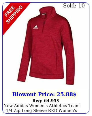 adidas women's athletics team zip long sleeve red women's mediu