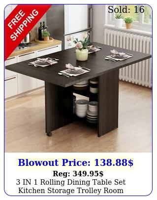 in rolling dining table set kitchen storage trolley room breakfast furnitur
