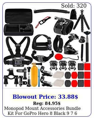 monopod mount accessories bundle kit gopro hero black  sports camer