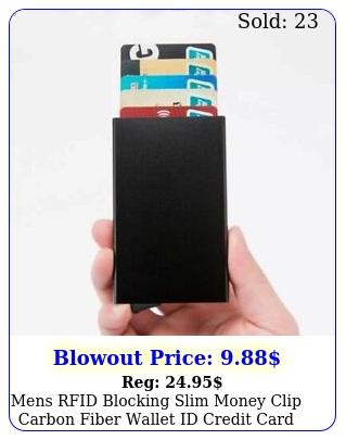 mens rfid blocking slim money clip carbon fiber wallet id credit card holder ne