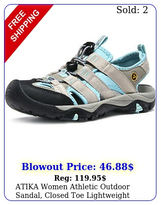 atika women athletic outdoor sandal closed toe lightweight walking water shoe