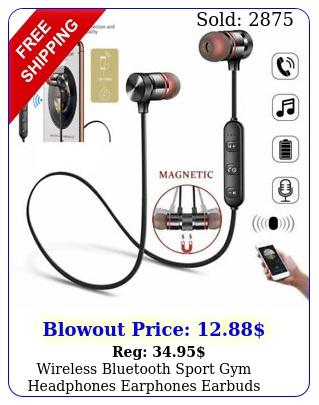 wireless bluetooth sport gym headphones earphones earbuds headset with mic bas