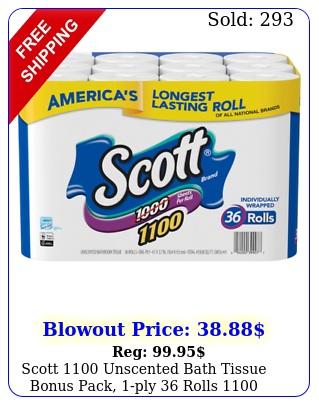 scott unscented bath tissue bonus pack ply rolls sheets rol