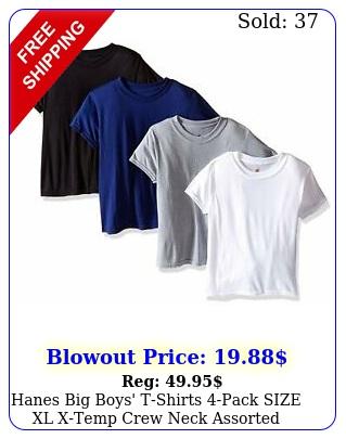 hanes big boys' tshirts pack size xl xtemp crew neck assorted color