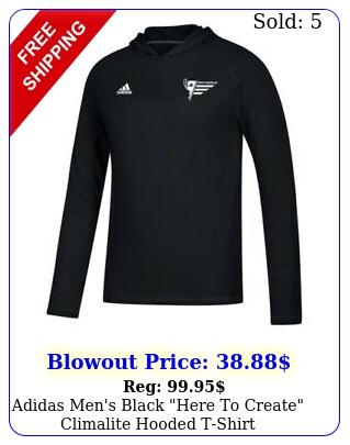 adidas men's black here to create climalite hooded tshir