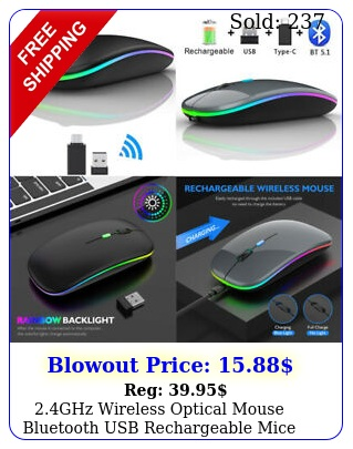 ghz wireless optical mouse bluetooth usb rechargeable mice pc laptop ipa