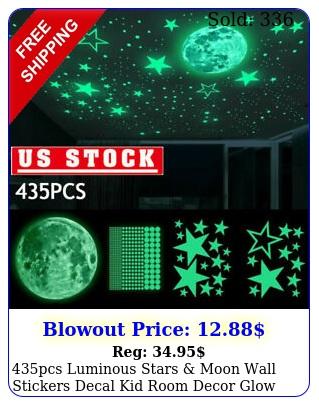 pcs luminous stars moon wall stickers decal kid room decor glow in the dar
