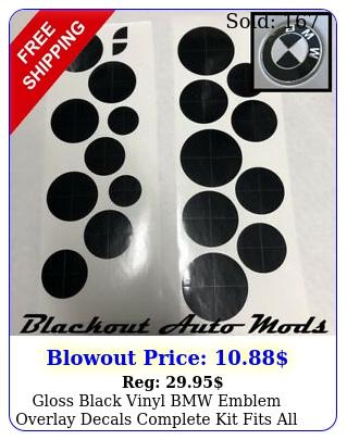 gloss black vinyl bmw emblem overlay decals complete kit fits all model
