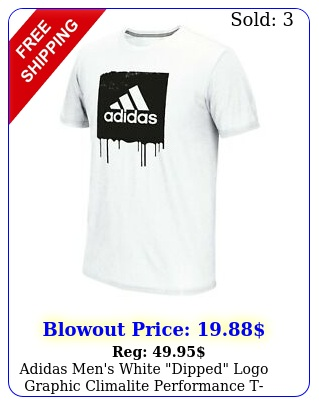 adidas men's white dipped logo graphic climalite performance tshir