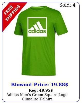 adidas men's green square logo climalite tshir