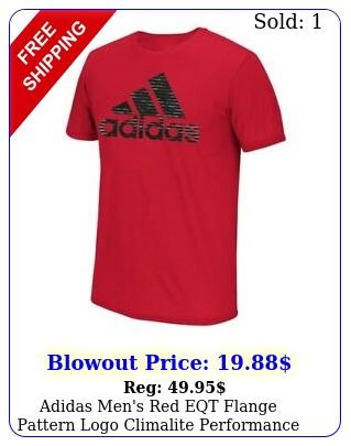 adidas men's red eqt flange pattern logo climalite performance tshir