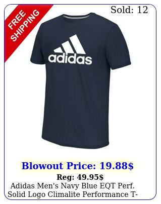 adidas men's navy blue eqt perf solid logo climalite performance tshir