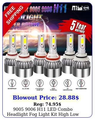 h led combo headlight fog light kit high low beam bulb white