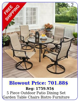 piece outdoor patio dining set garden table chairs bistro furniture lawn yar