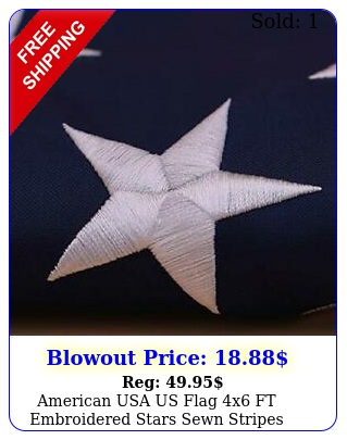 american usa us flag x ft embroidered stars sewn stripes brass grommets