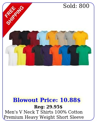 men's v neck t shirts cotton premium heavy weight short sleeve solid color