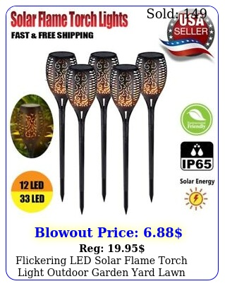 flickering led solar flame torch light outdoor garden yard lawn pathway lam