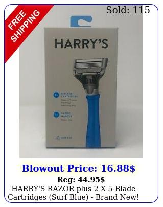 harry's razor plus x blade cartridges surf blue brand new seale