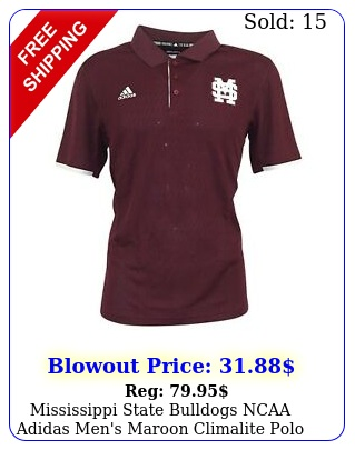 mississippi state bulldogs ncaa adidas men's maroon climalite polo shir