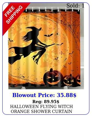 halloween flying witch orange shower curtain waterproof fabric bats pumpkin