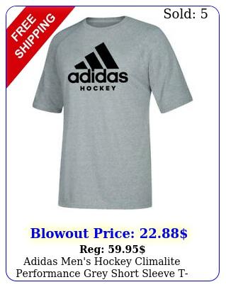 adidas men's hockey climalite performance grey short sleeve tshir
